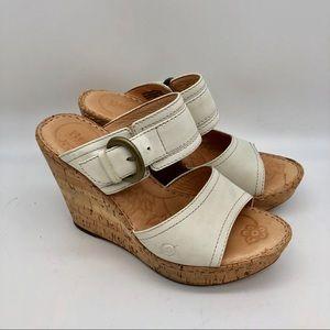 BOC Born Concept White  Leather Platform Sandals